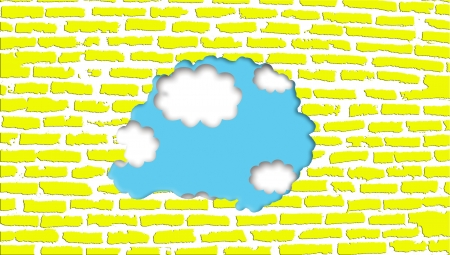 hollow wall: Recycling a yellow brickwall with sky view outside Stock Photo