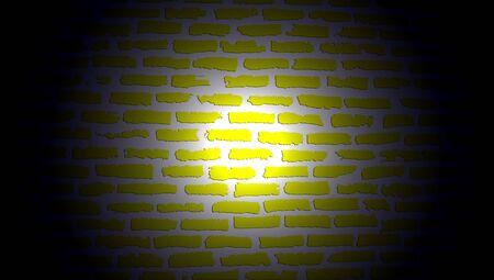 mistery: Light of lantern on yellow brickwall in dark night Stock Photo