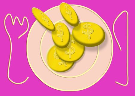 original plate: Dollars cookies payment falling as food on a plate illustration in pink