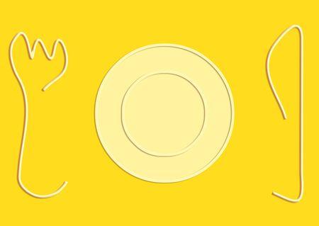 representations: Peque�o plato con cuchillo y popular siluetas de dibujo en amarillo