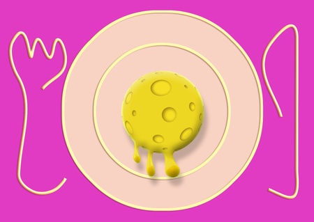 melted cheese: Cheese ball melted on plate with knife and folk illustration on pink