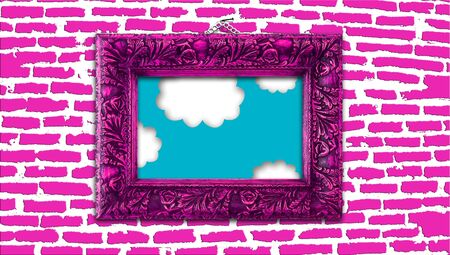 Pink elegant vintage frame with paradise sky painting hanging of a nail in a brickwall photo