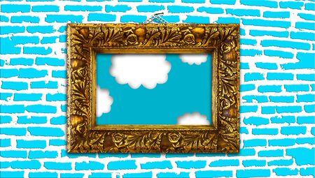 Heaven dream in elegant painting framed on a blue brickwall photo