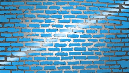 Blue brickwall illustration with a light ray illustration