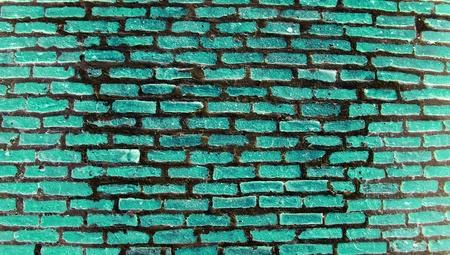 greenish: Greenish turquoise dark brickwall texture background Stock Photo