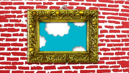 Vintage golden painting frame with heaven detail on modern brickwall background photo