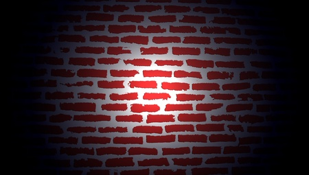 Circle of lantern light on a red brickwall background photo