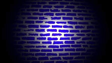centered: Dark blue brickwall illustration illuminated by centered light
