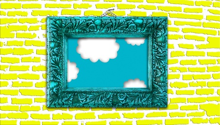 ornamentation: Cyan blue vintage painting frame with heaven detail on yellow modern brickwall background