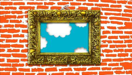 goldish: Vintage goldish frame with sky painting on orange brickwall background Stock Photo