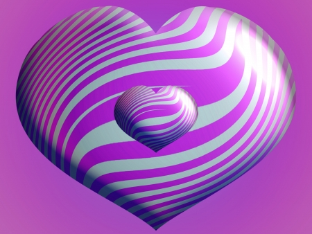 3d couple of purple heart balloons in two sizes
