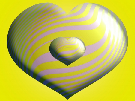 Couple of yellow hearts balloons in 3d overlay in two different sizes