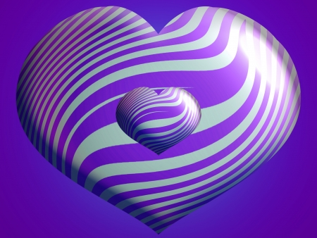 Two sizes of hearts balloons in purple and silver stripes