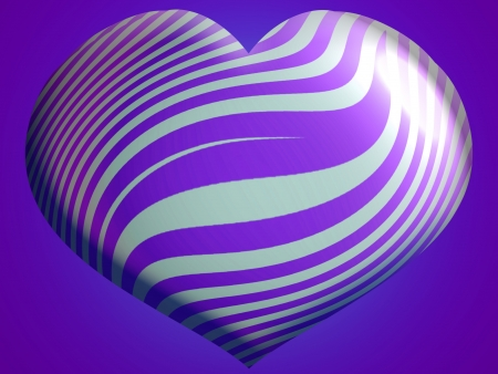 One heart brilliant balloon in violet and silver stripes photo