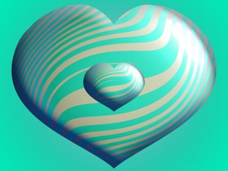Couple of aqua blue heart 3d balloons