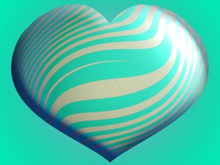 One brilliant 3d blue heart balloon illustration