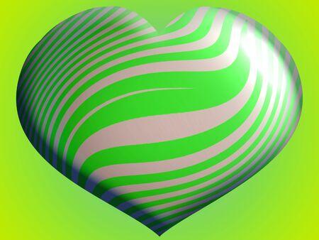 Brilliant green heart 3d balloon toy illustration Stock Photo