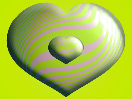 Couple of 3d hearts in lemon green Imagens