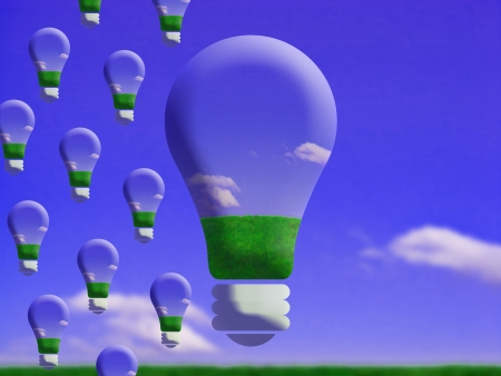 comparing: Light bulbs coming in creative conceptual image