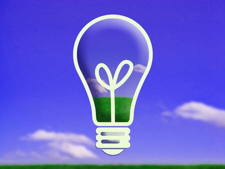 Old light bulb illustration on clear landscape background illustration