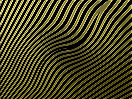 Gold paralell waves isolated on black background photo