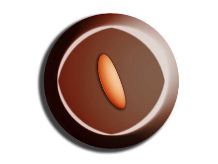 Circular brown chocolat sweet with almond illustration on white Stock Illustration - 20545844