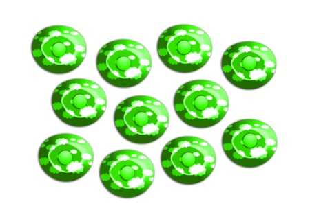 comfits: Brilliant green candies illustration