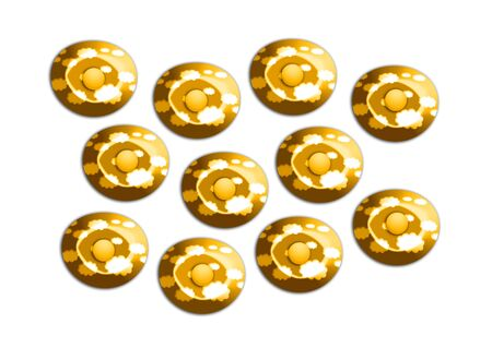 Gold candies group illustration on white background illustration