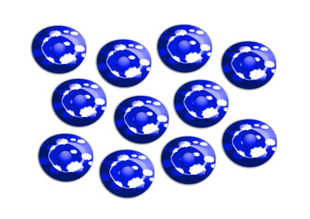 Dark blue candies from paradise on white background photo