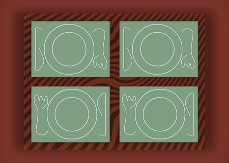 Sober table service for four in green on brown wood Stock Photo