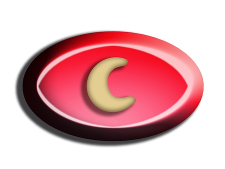 Red bombon button with cashew moon isolated on white photo