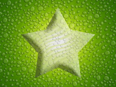 liquid x: Triumph star background in green with ware drops texture Stock Photo