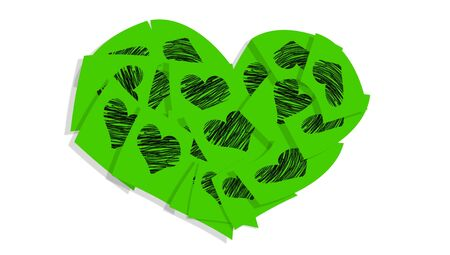 Brilliant green postit notes with heart drawing in a big heart on white photo