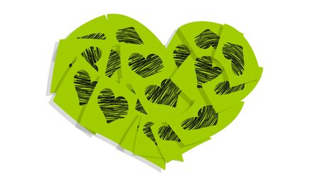 Green post it notes heart isolated on white photo