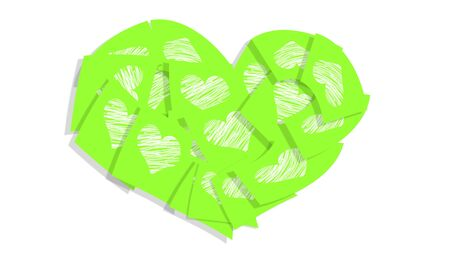 february 1: Green post it love notes isolated on white