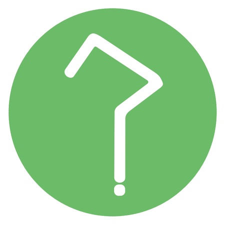 Question mark with angles in green spot photo