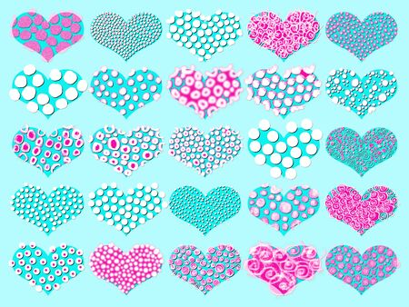 spiralized: Set of spotted hearts in blue and pink Stock Photo