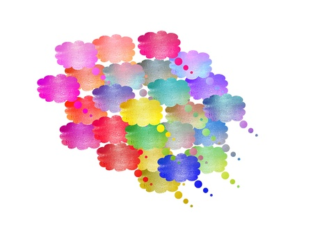 smaller: Big multicolor cloud made of unification of many smaller Stock Photo