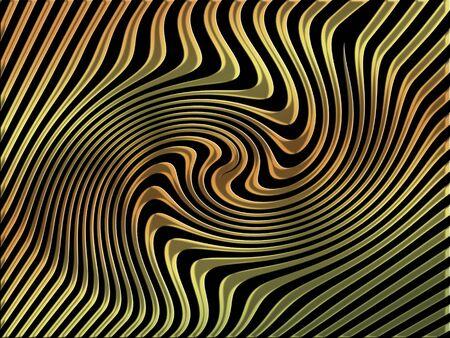 spiralized: Gold spiral on black background Stock Photo