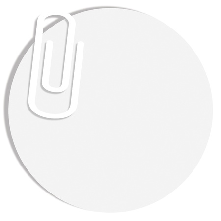 Blanck circle of paper with a clip on white background photo