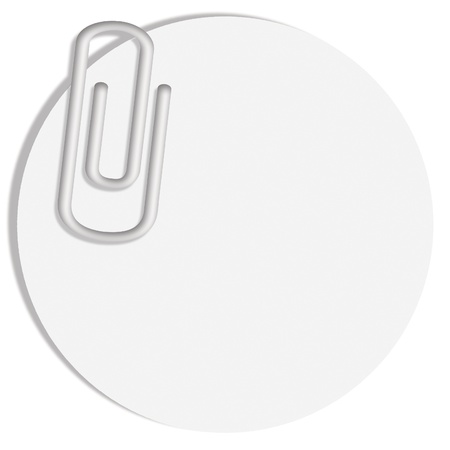 Circular notes paper with a clip on white photo