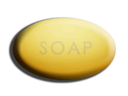 Yellow 3d soap illustration isolated on white illustration