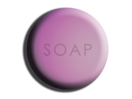 cleanse: Lilac circular rounded soap illustration on white Stock Photo