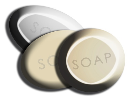b n: Set of three different soaps isolated on white