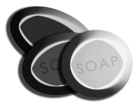 bn: Silver soaps illustration isolated on white background