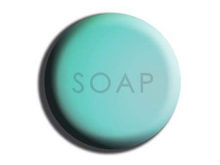 Light blue circular rounded soap illustration on white illustration