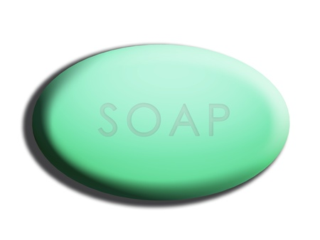 Word soap carved on green oval one isolated on white photo