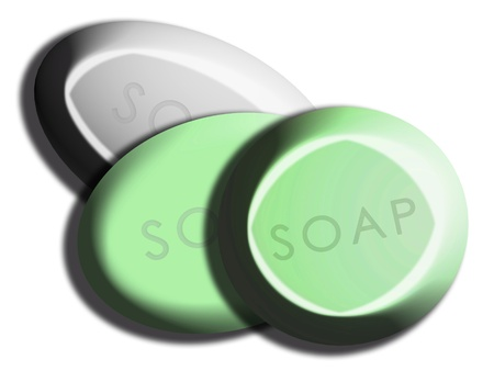 greenish: Circular 3d green and silver soaps drawing on white