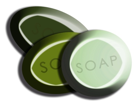 carved letters: Three olive green tones of 3d rounded soaps on white