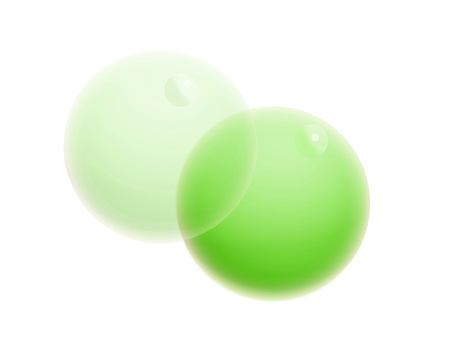 Pair of apple green bubbles isolated on white background photo